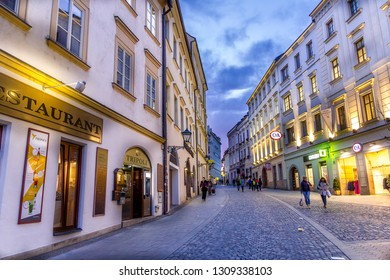 Brno, Czech Republic - 01 November, 2018: People walking in the city center.  The are has a big concentration of stores, bars and restaurants.