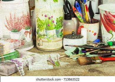 BRNO, CZECH REPUBLIC -10 September, 2017: Products made by decoupage technique. Decoupage is a technique of decorating items napkins. Workshop of the painter. Work desk mess