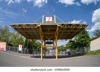 Brno, Czech Republic - 15 May 2019: Entrance gate number 7 of Brno Exhibition Center Veletrhy