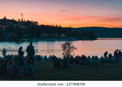 BRNO, CZECH REPUBLIC - 24.5.2017: Photos of the sunset at the lake near of Brno.