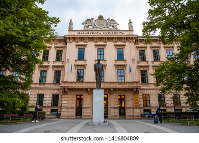 Brno, Czech Republic - 3.05.2019: Bronze Statue of the first Czechoslovak President Masaryk in front of Masaryk University Building in Brno in Czech republic