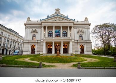 Brno, Czech Republic - 3.05.2019: Mahen Theatre, which is located in Brno Malinovsky Square, Czech Republic, Europe
