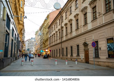 Brno, Czech Republic - 3.05.2019: People walking in the city center in Brno. There are a big concentration of stores, bars and restaurants in Czech republic