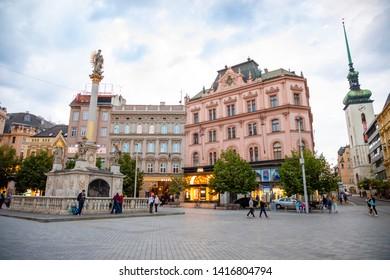 Brno, Czech Republic - 3.05.2019: The Plague Column on Freedom Square in Brno, Moravia, Czech Republic, Europe