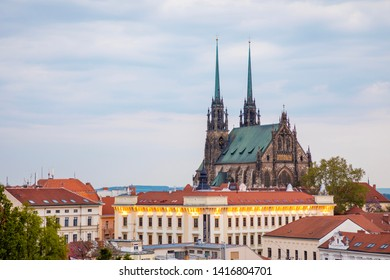 Brno, Czech Republic - 3.05.2019: View to the red roofs of Brno city with Cathedral of Saints Peter and Paul. Morawia, Czech Republic, Europe