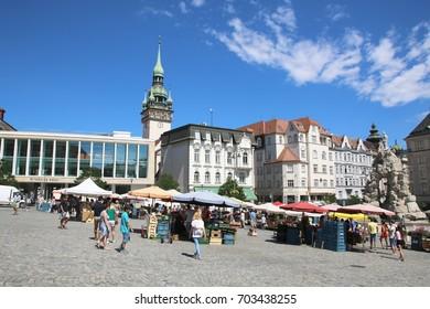 BRNO - CZECH REPUBLIC - 5 AUGUST 2017 - The vegetable market in city center of Brno, Czech Republic.
