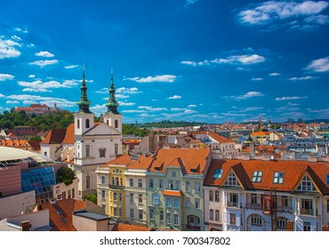 BRNO, CZECH REPUBLIC - 7 AUGUST, 2017:View on the old town of Brno, Czech Republic on 7 August, 2017.