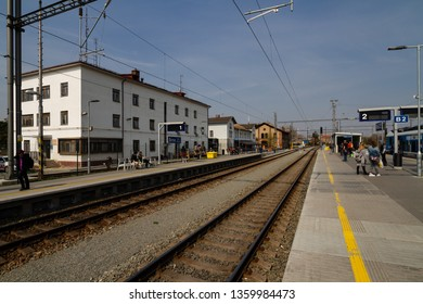 "Brno, Czech republic - April 03 2019: Train station ""Brno - Dolni nadrazi"" (Brno - Lower Station) used as a makeshift passenger station during reconstruction of the Main Station."