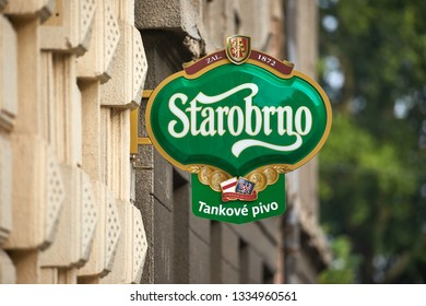 BRNO, CZECH REPUBLIC - April 14, 2018: Starobrno brewer sign on a pub in Brno