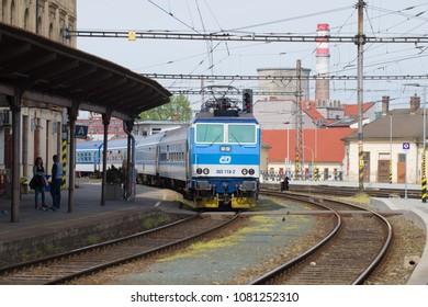 BRNO, CZECH REPUBLIC - APRIL 24, 2018: Passenger train arrives at the main train station