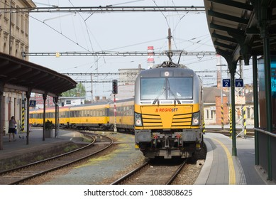 BRNO, CZECH REPUBLIC - APRIL 24, 2018: The passenger train of the transport company RegioJet arrives on the station