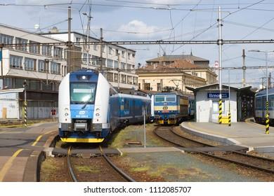 BRNO, CZECH REPUBLIC - APRIL 24, 2018: At the main railway station of Brno
