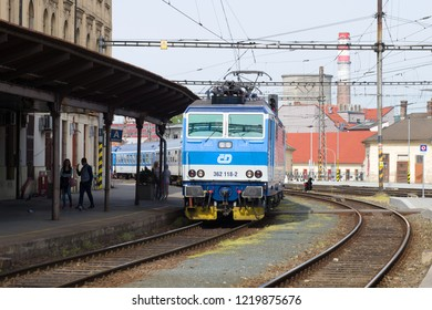 BRNO, CZECH REPUBLIC - APRIL 24, 2018: Passenger train arrives at the main railway station of Brno