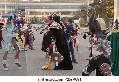 BRNO, CZECH REPUBLIC - APRIL 30, 2016: Cosplayers dressed as characters from game World of Warcraft pose at Animefest, anime and manga convention on April 30, 2016 Brno in the Czech Republic