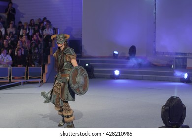 BRNO, CZECH REPUBLIC - APRIL 30, 2016: Cosplayer dressed as character Dovahkiin from game The Elder Scrolls V : Skyrim poses during cosplay contest at Animefest on April 30, 2016 Brno, Czech Republic