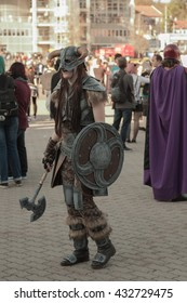 BRNO, CZECH REPUBLIC - APRIL 30, 2016: Cosplayer dressed as character Dovahkiin from game The Elder Scrolls V : Skyrim poses  at Animefest  on April 30, 2016 Brno, Czech Republic