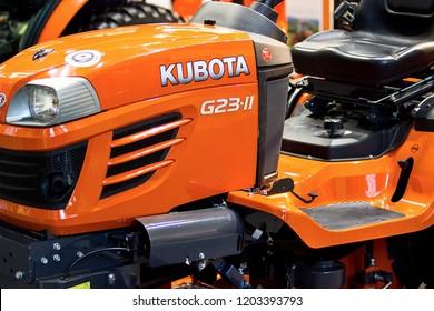 Brno, Czech Republic, April 9, 2018, Garden tractor Kubota