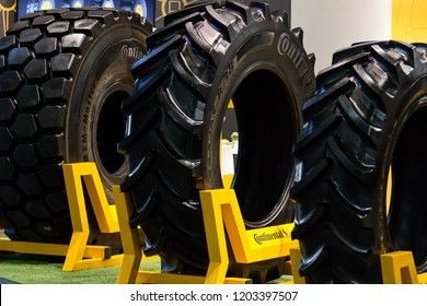 Brno, Czech Republic, April 9, 2018, Tires Continental on exhibition stand