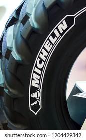 Brno, Czech Republic, April 9, 2018, Michelin logo on the tire