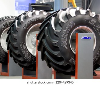 Brno, Czech Republic, April 9, 2018, New tires Mitas on exhibition stand