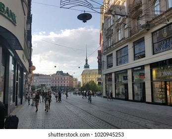 Brno, Czech Republic -August 14, 2017:  City Center of Brno. Brno is the second largest city in the Czech Republic by population and area, and the historical capital city of the Margraviate of Moravia