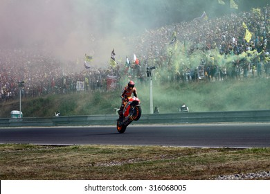 BRNO - CZECH REPUBLIC, AUGUST 16: Spanish Honda rider Marc Marquez at 2015 MotoGP of Czech Republic at Brno circuit on August 16, 2015