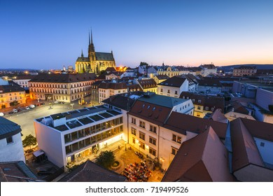 Brno, Czech Republic - August 23, 2017: Old town of Brno as seen from the town hall tower.