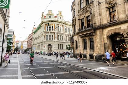 BRNO, CZECH REPUBLIC - CIRCA AUGUST 2017: Street view of downtown of Brno city in Czech Republic