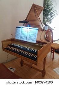 BRNO, CZECH REPUBLIC - CIRCA MARCH 2018: two keyboard harpsichord for playing baroque music