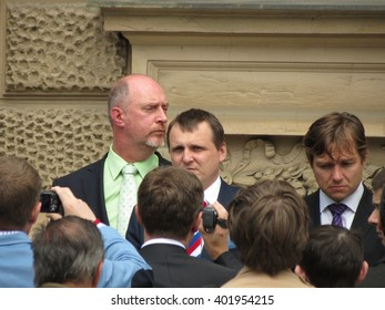 BRNO, CZECH REPUBLIC - CIRCA MAY 2013: unidentified politician surrounded by photographers in front of the Constitutional Court