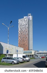 BRNO, CZECH REPUBLIC - CIRCA MAY 2017: AZ tower, currently the tallest building in the Czech Republic (111 m or 364 ft)