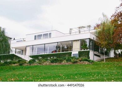 BRNO, CZECH REPUBLIC - CIRCA OCTOBER 2013: View from the garden of Villa Tugendhat, one of the masterpieces of modern architecture, designed by German architect Ludwig Mies van der Rohe.