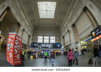 BRNO, CZECH REPUBLIC - DECEMBER 15, 2016: Interior of the main Railway Station.  It is one of the oldest railway stations in the Czech Republic, having been in operation since 1839.