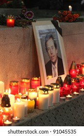 BRNO, CZECH REPUBLIC, DECEMBER 18: Hundreds of people came to light a candle in honor of Vaclav Havel, who died on the streets of czech cities like on 18 december, 2011, in Brno, Czech republic.