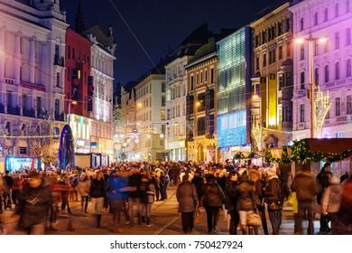 Brno, Czech Republic - December 4, 2016: Christmas celebration in old town of Brno, Czech Republic in the evening on December 4, 2016 Brno, Czech Republic
