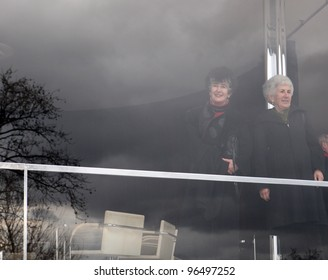 BRNO, CZECH REPUBLIC, FEB 29:Sisters Tugendhat Daniela(L) and Ruth(R) visit Villa Tugendhat built in 1930's by Ludwig Mies van der Rohe which is open since February 29, 2012 in Brno, Czech republic.