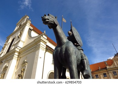 Brno, Czech Republic - February 24, 2017: Equestrian statue of Margrave Jobst of Luxembourg astride a horse in front of the Church of St. Thomas in Brno, Southern Moravia, Czech Republic.