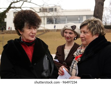 BRNO, CZECH REPUBLIC, FEBRUARY 29:Daniella Hammer-Tugendhat (L) visit Villa Tugendhat built in 1930's by Ludwig Mies van der Rohe which is open since february 29, 2012 in Brno, Czech republic.