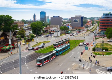Brno,  Czech Republic - July 10 2017. View of Brno downtown. Tramway. City life.