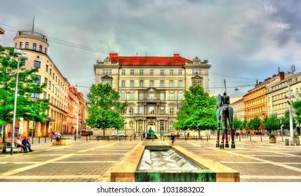 Brno, Czech Republic - July 16, 2017: Moravske Namesti, a square in the old town of Brno.