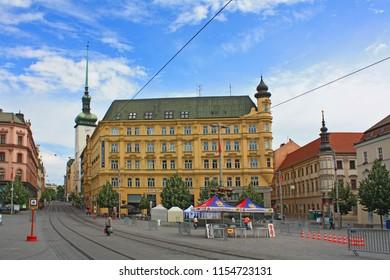 BRNO, CZECH REPUBLIC - July 25, 2016: Main square in downtown in Brno, Czech Republic