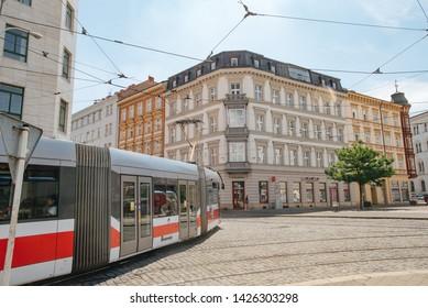 Brno, Czech Republic - July 27, 2018: Tram is a major transport in old town Brno. City street veiw.