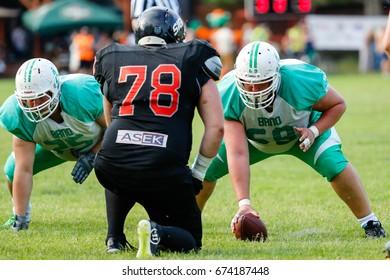 Brno, Czech Republic - July 9, 2017. Silver Bowl 2017 match between Brno Alligators and Brno Sigrs in American football.
