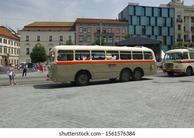 Brno, Czech Republic - June 1. 2019: Vintage bus taken out of Brno Technical Museum and exhibited at Liberty Square (Namesti Svobody).