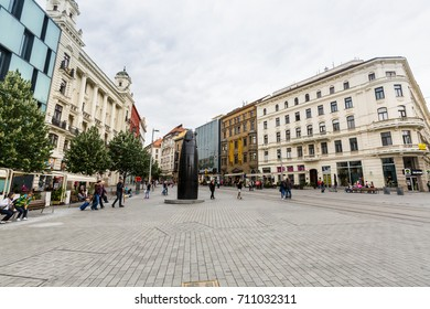 BRNO, CZECH REPUBLIC - JUNE 17, 2017: View of the city center and old town part of the Czech city Brno on June 17, 2017. Its the second largest city in Czechia and the the largest Moravian city.