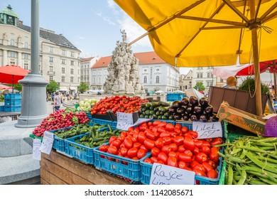 Brno, Czech Republic - june, 2018:  view of open air Brno market, Czech Republic