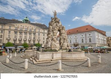 Brno, Czech Republic - june, 2018:  Parnas Fountain at vegetable market in Brno, Moravia, Czech Republic, Europe