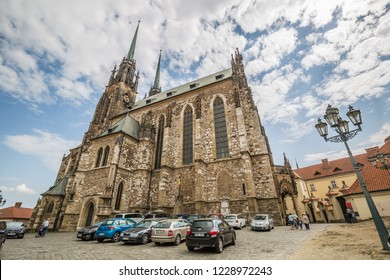 Brno, Czech Republic - june, 2018: view of exterior of Cathedral of St Peter and Paul - Brno, Moravia, Czech Republic, Europe