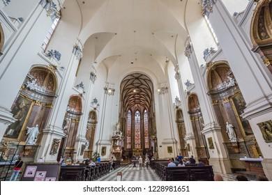Brno, Czech Republic - june, 2018: inside Cathedral of St Peter and Paul - in Brno, Moravia, Czech Republic, Europe.