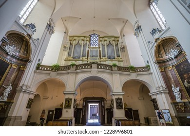 Brno, Czech Republic - june, 2018: inside Cathedral of St Peter and Paul - in Brno, Moravia, Czech Republic, Europe. close up of interior element: pipe organ.